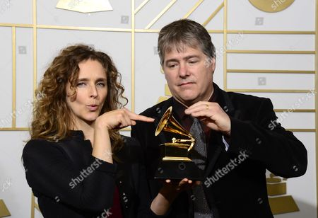 Abigail Washburn (l) and Bela Fleck (r) Hold Up Their Award For Best Folk Album in the Press Room During the 58th Annual Grammy Awards Ceremony at the Staples Center in Los Angeles California Usa 15 February 2016 United States Los Angeles