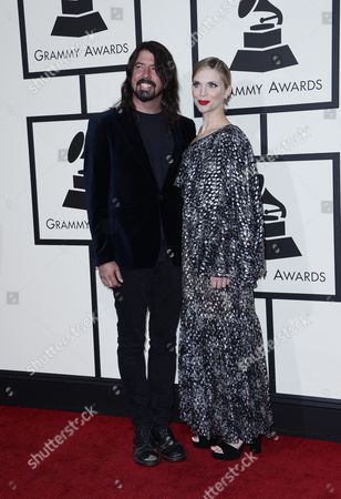 Dave Grohl (l) of Foo Fighters and His Wife Jordyn Blum (r) Arrive For the 58th Annual Grammy Awards Ceremony at the Staples Center in Los Angeles California Usa 15 February 2016 United States Los Angeles