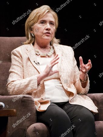 Former Us Secretary of State Hillary Rodham Clinton of New York is Interviewed by Mark Updegrove (not Pictured) Director of the Lbj Presidential Library at the Long Center in Austin Texas Usa on 20 June 2014 United States Austin