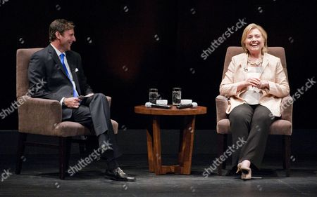 Former Us Secretary of State Hillary Rodham Clinton (r) of New York is Interviewed by Mark Updegrove (l) Director of the Lbj Presidential Library at the Long Center in Austin Texas Usa on 20 June 2014 United States Austin