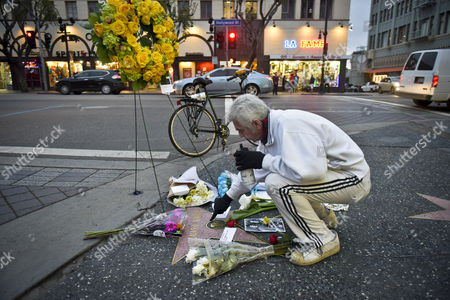 A Passer by Dismounted Their Bike and Paid Respects to the Late Actor Leonard Nimoy at His Star on the Hollywood Walk of Fame in Hollywood California Usa 27 February 2015 After He Died Earlier That Day the 83-year-old who Became World Famous As One of the Lead Characters on the Starship Enterprise Movies Died at His Home in Los Angeles According to David Gersh Nimoy's Agent the Unflappable Spock a Fixture at the Side of Captain Kirk Along with the Other Members of the Crew of the Enterprise Wrote Television History with Its Racially Diverse Cast United States Hollywood