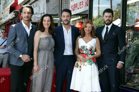 Irish-born Actress and Producer Roma Downey (2-r) Poses with Cast Members From the Movie 'Ben Hur' Brazilian Actor Rodrigo Santoro (l) Israeli Actress Ayelet Zurer (2-l) and British Actors Jack Huston (c) and Toby Kebbell (r) During a Ceremony Honorning Her with a Star on the Hollywood Walk of Fame in Hollywood California Usa 11 August 2016 Downey Received the 2 586th Star in the Television Category United States Hollywood