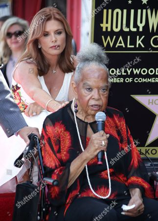 Irish-born Actress Roma Downey (l) Touches Us Gospel Singer Della Reese (r) During a Ceremony Honoring Downey on the Hollywood Walk of Fame in Hollywood California Usa 11 August 2016 Downey Received the 2 586th Star in the Television Category United States Hollywood