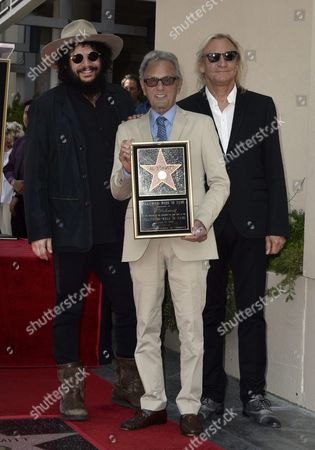 Us Music Producer Don was (l) and Us Musician Joe Walsh (r) Pose with Us Music Producer Al Schmitt (c) During Schmitt's Star Ceremony on the Hollywood Walk of Fame in Hollywood California Usa 13 August 2015 Schmitt Received the 2 557th Star on the Walk of Fame in the Category of Recording United States Hollywood