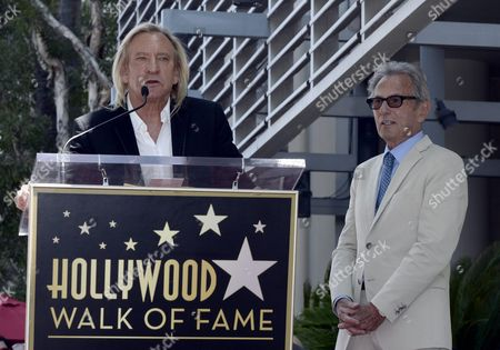 Us Musician Joe Walsh (l) Introduces Us Music Producer Al Schmitt (r) During Schmitt's Star Ceremony on the Hollywood Walk of Fame in Hollywood California Usa 13 August 2015 Schmitt Received the 2 557th Star on the Walk of Fame in the Category of Recording United States Hollywood