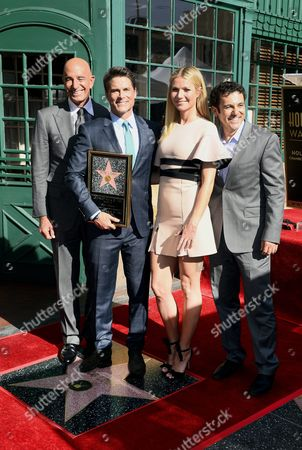 Us Actor Rob Lowe (2-l) Along with Tom Barrack Chairman of Miramax (l) and Us Actors Gwyneth Paltrow (2-r) and Fred Savage (r) Pose with Lowe's Star on the Hollywood Walk of Fame During Ceremony in Hollywood California Usa 08 December 2015 Lowe Received the 2567th Star on the Walk of Fame in the Category of Television United States Hollywood
