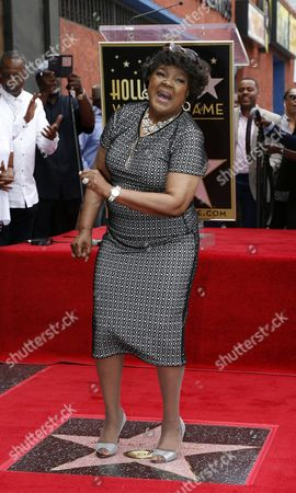 Stock Photo of Us Singer Shirley Caesar Poses with Her Star on the Hollywood Walk of Fame During Ceremony in Hollywood California Usa 28 June 2016 Caesar Received the 2 583rd Star on the Walk of Fame in the Category of Recording United States Hollywood