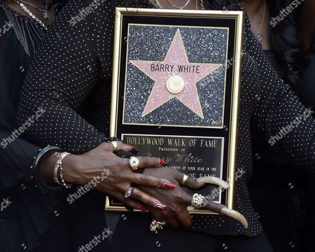 Us Singer Glodean White Widow of Late Us Singer Barry White Poses with Barry White's Star on the Hollywood Walk of Fame During Ceremony in Hollywood California Usa 12 September 2013 White who Died in 2003 was Awarded the 2 506th Star Posthumously on the Hollywood Walk of Fame in the Category of Recording United States Hollywood