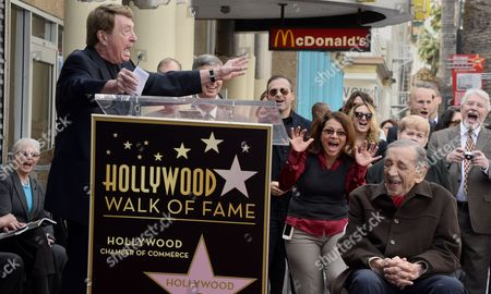 Us Film Producer Jack H Harris (front-r) Laughs As Us Producer Larry Cohen (l) Encourages the Crowd to Scream During the Awarding Ceremony in Hollywood California Usa 04 February 2014 Harris was Awarded the 2 517th Star on the Hollywood Walk of Fame in the Category of Motion Pictures United States Hollywood