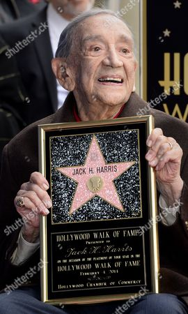 Us Film Producer Jack H Harris Poses with His Star on the Hollywood Walk of Fame During the Awarding Ceremony in Hollywood California Usa 04 February 2014 Harris was Awarded the 2 517th Star on the Hollywood Walk of Fame in the Category of Motion Pictures United States Hollywood