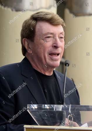 Stock Picture of Us Film Producer Larry Cohen Speaks During Us Film Producer Jack H Harris' Star Ceremony on the Hollywood Walk of Fame in Hollywood California Usa 04 February 2014 Harris was Awarded the 2 517th Star on the Hollywood Walk of Fame in the Category of Motion Pictures United States Hollywood