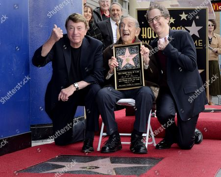 Stock Image of Us Film Producers Larry Cohen (l) Jack H Harris (c) and Brian Witten (r) Pose During the Awarding Ceremony in Hollywood California Usa 04 February 2014 Harris was Awarded the 2 517th Star on the Hollywood Walk of Fame in the Category of Motion Pictures United States Hollywood