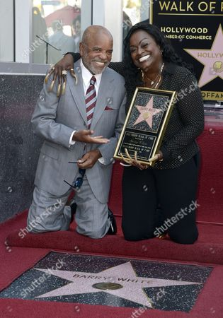 Us Music Producer Berry Gordy (l) and Us Singer Glodean White (r) Wife of Late Us Singer Barry White Pose with Barry White's Star on the Hollywood Walk of Fame During Ceremony in Hollywood California Usa 12 September 2013 White who Died in 2003 was Awarded the 2 506th Star Posthumously on the Hollywood Walk of Fame in the Category of Recording United States Hollywood