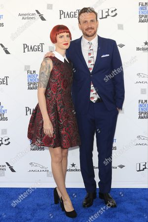 Photographer Alexis Mixter (l) and Us Actor Jason Segel Arrives For the 2016 Film Independent Spirit Awards in Santa Monica California Usa 27 February 2016 United States Santa Monica