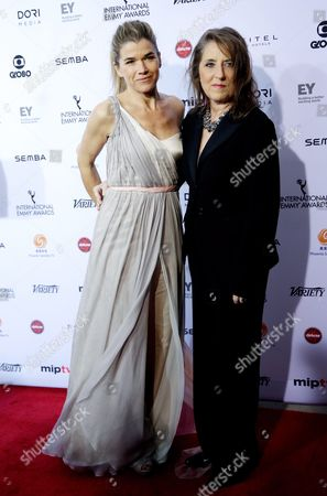 Stock Picture of Actress Anke Engelke (l) and Petra Muller (r) Ceo of the Filmstiftung Nordrhein-westfalen Both of Germany Arrive For the 43rd International Emmy Awards Gala in New York New York Usa 23 November 2015 United States New York