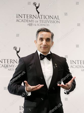 Egyptian Satirist Bassem Youssef Poses in the Press Room at the 43rd International Emmy Awards Gala in New York New York Usa 23 November 2015 United States New York