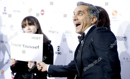 Stock Image of Egyptian Satirist Bassem Youssef Jokes Around While Arriving For the 43rd International Emmy Awards Gala in New York New York Usa 23 November 2015 Youssef is Hosting the Event United States New York