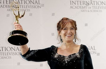 Actress Anneke Von Der Lippe of Norway Poses with the International Emmy Award in the 'Best Performance by an Actress' Category For 'Oyevitne' During the 43rd International Emmy Awards Gala in New York New York Usa 23 November 2015 United States New York