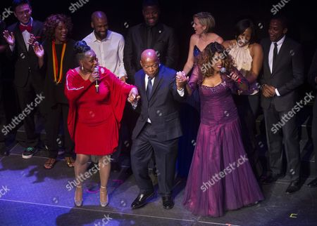 Democrat Congressman John Lewis Dances with Us Singers Regina Belle (l) and Jennifer Holliday (r) As They Celebrate His 75th Birthday During a Gala Held in His Honor at the Tabernacle in Atlanta Georgia Usa 28 March 2015 Lewis Has Devoted Much of His Life to Civil Rights Activism Coming to the Forefront 50 Years Ago This Month when Armed Policemen Attacked He and Other Peaceful Demonstrators Attempting to March Across the Edmund Pettus Bridge in Selma Alabama an Incident That Became Known As Bloody Sunday United States Atlanta