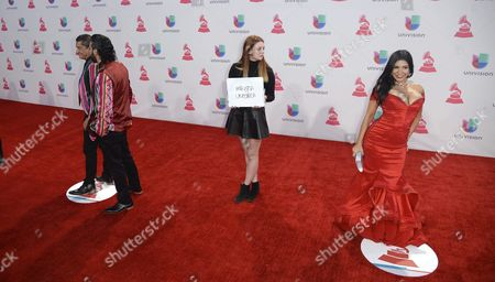 Los Tekis (l) and Mayra Veronica (r) Arrive at the 16th Annual Latin Grammy Awards at the Mgm Grand in Las Vegas Nevada Usa 19 November 2015 Latin Grammy Awards Recognize Artistic And/or Technical Achievement not Sales Figures Or Chart Positions and the Winners Are Determined by the Votes of Their Peers-the Qualified Voting Members of the Academy United States Las Vegas