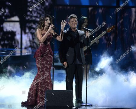Recording Artists Paula Fernandes (c) and Alejandro Sanz (r) Peform Onstage with Members of the Musical Group 'Mariachi Sol De Mexico' During the 16th Annual Latin Grammy Awards at the Mgm Grand in Las Vegas Nevada Usa 19 November 2015 Latin Grammy Awards Recognize Artistic And/or Technical Achievement not Sales Figures Or Chart Positions and the Winners Are Determined by the Votes of Their Peers-the Qualified Voting Members of the Academy United States Las Vegas