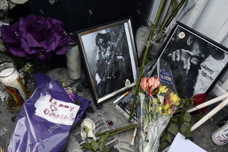 A Memorial to the Lead Singer of British Metal Band Motorhead Lemmy at the Rainbow Bar and Grill in Hollywood California Usa 09 January 2016 the Rainbow Purportedly Lemmy's Favorite Bar Allowed Fans to Come in and Celebrate the Rocker's Life United States Hollywood