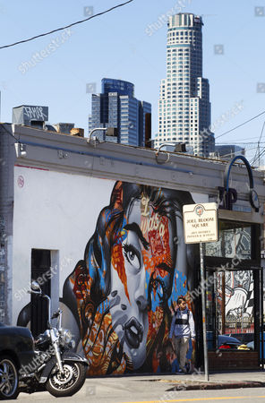 The Mural 'I was a Botox Junkie' by Artist Tristan Eaton Looms Under the City Skyline in the Revived Street Art Scene of Los Angeles California Usa 08 April 2015 the City Has Recently Seen a Dramatic Increase in Murals After a Decade-long Moratorium was Lifted United States Los Angeles