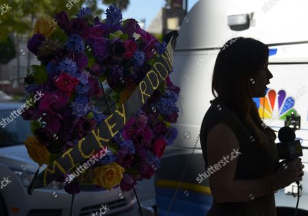 A Local Television Crew Reports Near the Wreath of Flowers Atop the Hollywood Walk of Fame Star of Us Actor Mickey Rooney in Hollywood California Usa 07 April 2014 Hollywood Acting Legend Mickey Rooney One of the Great Stars of Us Movie Industry in the 1930s and 1940s Died of Natural Causes on 06 April 2014 at His North Hollywood Home Police Said He was 93 United States Hollywood