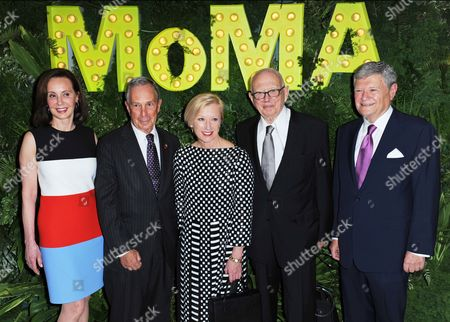 (l-r) Canadian-born Economist and Philanthropist Marie-josee Kravis New York Mayor Michael R Bloomberg and Us Artists Cindy Sherman and Ellsworth Kelly and New York Real Estate Developer Jerry Speyer Arrive at the Museum of Modern Art's Party in the Garden in New York New York Usa 21 May 2013 the Museum of Modern Art's Party in the Garden is a Benefit Event in Honor of Mayor Michael R Bloomberg and the City of New York and Us Artists Ellsworth Kelly and Cindy Sherman in Recognition of Their Support of Moma United States New York
