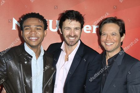 (l-r) Us Actors Robert Bailey Jr Eoin Macken Scott Wolf of the Show 'The Night Shiftr' Arrive For the 2016 Nbcuniversal Summer Press Day at the Four Seasons Westlake in Westlake Village California Usa 01 April 2016 the Summer Press Day Event is Held by Nbcuniversal and is where the Talent of the Current Shows Are Introduced United States Westlake Village