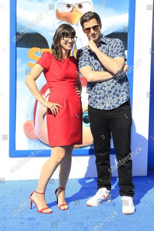 Us Actress and Cast Member Katie Crown (l) Arrives with Us Actor and Cast Member Andy Samberg For the World Premiere of Storks at the Regency Village Theater in Westwood Los Angeles California Usa 17 September 2016 the Movie Opens in the Us on 23 September 2016 United States Los Angeles