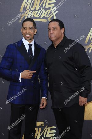 Neil Brown Jr (l) and N W A's Dj Yella (r) Arrive For the 2016 Mtv Movie Awards at the Warner Brothers Studios in Burbank California Usa 09 April 2016 the Movies Are Nominated by Producers and Executives From Mtv and the Winners Are Chosen Online by the General Public United States Burbank