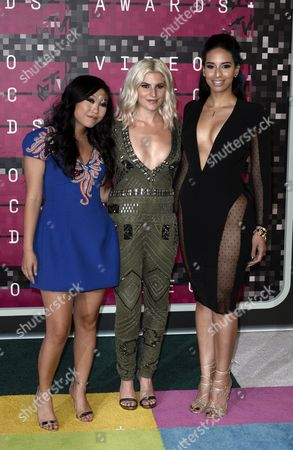 (l-r) Awkwafina Carly Aquilino and Nessa Diab Arrive on the Red Carpet For the 32nd Mtv Video Music Awards at the Microsoft Theater in Los Angeles California Usa 30 August 2015 United States Los Angeles