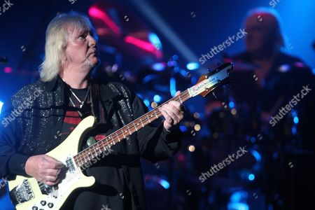 Chris Squire (l) of the English Rock Band Yes Performs at the Murat Theater in Indianapolis Indiana Usa 12 August 2013 United States Indianapolis