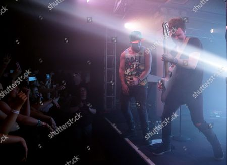 Wesley Stromberg (l) and Keaton Stromberg (r) of the Us Pop Reggae Band Emblem3 Perform at the Deluxe at the Murat Center in Indianapolis Indiana Usa 21 May 2016 (issued 22 May) United States Indianapolis