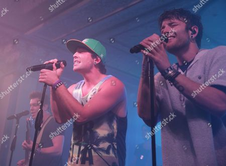Keaton Stromberg (l) Wesley Stromberg (c) and Drew Chadwick (r) of the Us Pop Reggae Band Emblem3 Perform at the Deluxe at the Murat Center in Indianapolis Indiana Usa 21 May 2016 (issued 22 May) United States Indianapolis