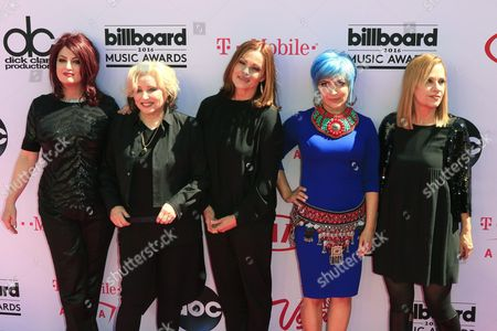 Us Rock Band the Go-go's (l-r); Abby Travis Gina Schock Belinda Carlisle Jane Wiedlin and Charlotte Caffey Arrive For the 2016 Billboard Music Awards at the T-mobile Arena in Las Vegas Nevada Usa 22 May 2016 the Billboard Music Awards Finalists Are Based on Us Year-end Chart Performance Sales Number of Downloads and Total Airplay United States Las Vegas