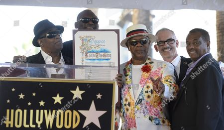 Us Musical Group Kool & the Gang Poses on Their Star After Being Honored on the Hollywood Walk of Fame in Hollywood California Usa 08 October 2015 Kool & the Gang with Such Hits As 'Celebration' and 'Get Down on It' Received the 2 560th Recording Artist Star on the Famous Boulevard From L to R: Ronald Khalis Bell George Brown Dennis 'Dt' Thomas La City Counsel Man Mitch O'farrell and Robert 'Kool' Bell United States Hollywood