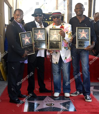 Us Musical Group Kool & the Gang Poses on Their Star After Being Honored on the Hollywood Walk of Fame in Hollywood California Usa 08 October 2015 Kool & the Gang with Such Hits As 'Celebration' and 'Get Down on It' Received the 2 560th Recording Artist Star on the Famous Boulevard From L to R: Robert 'Kool' Bell Ronald Khalis Bell Dennis 'Dt' Thomas and George Brown United States Hollywood