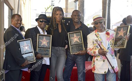 Us Actress Tasha Smith (c) Joins Us Musical Group Kool & the Gang As They Are Honored with a Star on the Hollywood Walk of Fame in Hollywood California Usa 08 October 2015 Kool & the Gang with Such Hits As 'Celebration' and 'Get Down on It' Received the 2 560th Recording Artist Star on the Famous Boulevard From L to R: Robert 'Kool' Bell Ronald Khalis Bell Smith George Brown and Dennis 'Dt' Thomas United States Hollywood