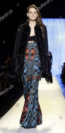 A Model Presents a Creation From the Fall 2016 Collection of Herve Leger by Max Azria During the New York Fall Fashion Week in New York New York Usa 13 February 2016 the Fall 2016 Collections Are Presented From 11 to 18 February United States New York
