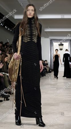 Belgian Model Yumi Lambert Presents a Creation by Us Designer Ralph Lauren at the New York Fall Fashion Week in New York New York Usa 18 February 2016 the Fall 2016 Collections Are Presented From 11 to 18 February United States New York