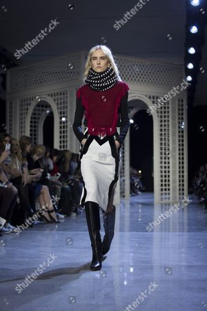 Estonian Model Harleth Kuusik Presents a Creation During the Altuzarra Fall 2016 Show at the New York Fall Fashion Week in New York New York Usa 13 February 2016 the Fall 2016 Collections Are Presented From 11 to 18 February United States New York
