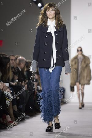 Danish Model Freja Beha Presents a Creation by Michael Kors at the New York Fall Fashion Week in New York New York Usa 17 February 2016 the Fall 2016 Collections Are Presented From 11 to 18 February United States New York