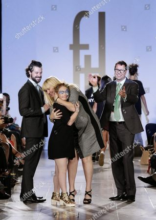 Rosanne Stuart (c) Mother of Australian Model Madeline Stuart (c) who Has Down's Syndrome Hugs Her Daughter on the Runway in Front of Fashion Designer Hendrik Vermeulen (l) and Partner Dino Moran (r) During the Spring 2016 Collection by Ftl Moda During New York Fashion Week in New York New York Usa 13 September 2015 the Spring 2016 Collections Are Presented From 10 to 17 September United States New York