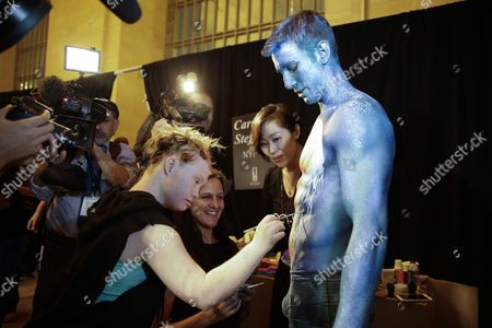 Australian Model Madeline Stuart (l) who Has Down's Syndrome Paints a Male Model Backstage Before the Spring 2016 Collection by Ftl Moda During New York Fashion Week in New York New York Usa 13 September 2015 the Spring 2016 Collections Are Presented From 10 to 17 September United States New York