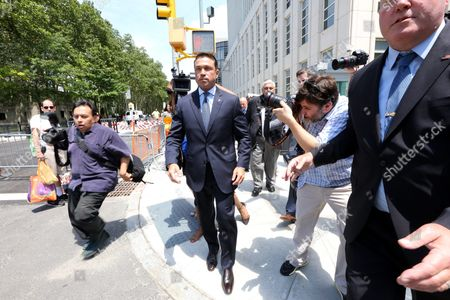 Former Us Congressman Michael Grimm (c) Leaves United States Federal Court in Brooklyn New York Usa 17 July 2015 Grimm is Accused of a Range of Offenses Including Mail Wire and Health Fraud Filing False Tax Returns and Perjury United States New York