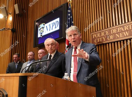 Manhattan District Attorney Cyrus Vance Speaks As New York City Police Commissioner William J Bratton Looks on at a Press Conference Announcing the Bust of a Gun Trafficking Ring at Police Headquarters in New York New York Usa 27 October 2015 Nypd Officers Charged Six Men As Part of an East Harlem Gun Trafficking Ring Selling Nearly 70 Guns to Undercover Officers United States New York