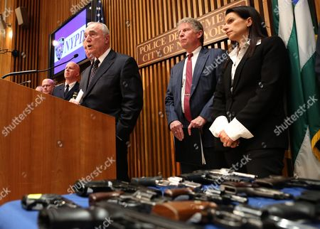 New York City Police Commissioner William J Bratton Speaks at a Press Conference Announcing the Bust of a Gun Trafficking Ring at Police Headquarters in New York New York Usa 27 October 2015 Nypd Officers Charged Six Men As Part of an East Harlem Gun Trafficking Ring Selling Nearly 70 Guns to Undercover Officers United States New York