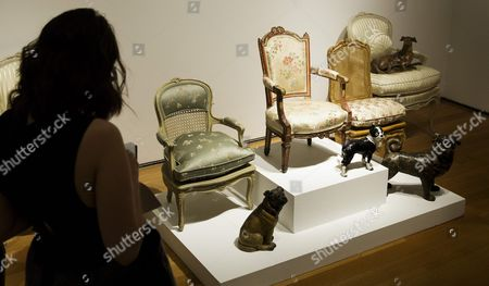 A View of Three French Children's Chairs and Three Models of Dogs with an Estimated Value $1000 - $1500 a Piece Owned by the Late Joan Rivers on Display During a Preview of an Auction of the Actress' Personal Items at Christie's in New York New York Usa 17 June 2016 the Auction Which Includes Furniture Clothing Art and Jewelry From Rivers' New York Apartment is Being Held Online Until 23 June 2016 with a Live Portion Taking Place on 22 June 2016 United States New York